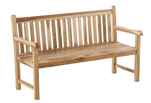 SAM 3 Sitzer Gartenbank, 150 cm, Teak-Holz, Caracas, Sitzbank, Massive Holzbank, für Balkon oder Garten