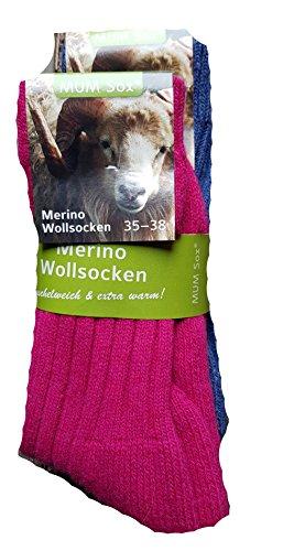 Unbekannt 2 Paar Merino-Wollsocken Winter Socken 70% Merinowolle, 25% Polyamid, 5% Elasthan Elasthan (Pink/Blau, 35-38)