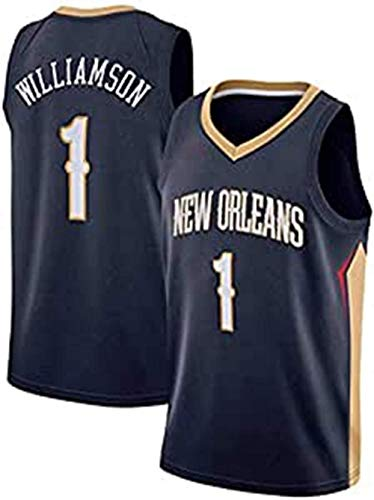 XLXay New Orleans Pelicans # 1 Zion Williamson 2019 NBA Draft First Round Pick Fast Break Swingman - Camiseta de baloncesto para hombre (S-XXL), azul marino (180-185 cm/85-95 kg)