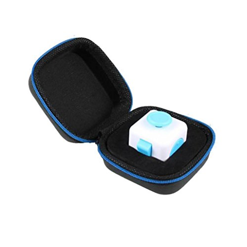HARRYSTORE Gift For Protect Fidget Cube Anxiety Stress Relief Focus Dice Bag Box Carry Case Packet (Blue)