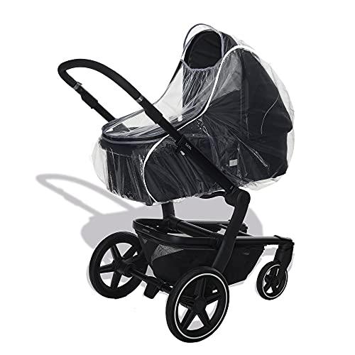 Universal Premium Regenschutz für Kinderwagen mit Babywanne/Reflektorstreifen für mehr Sicherheit in der Dämmerung/Wasserdichter Reißverschluss - Schadstofffrei