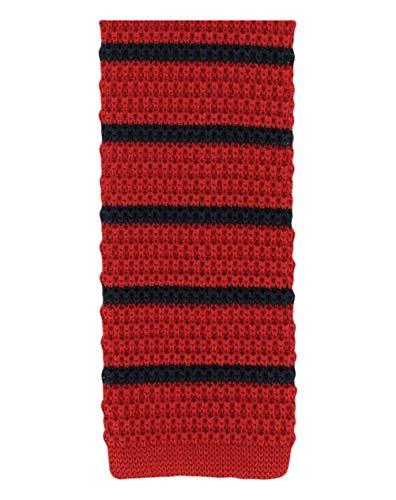 Michelsons of London Rouge/marine soie tricoté rayé maigre cravate de