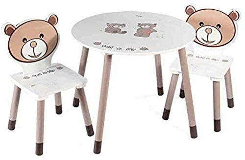 LIUBINGER Silla de Oficina Estudio Teórico Juego de sillas de Mesa de Madera 2 sillas for niños - Juega Presidente de Habitaciones Conjunto de Mesa y Mesa de Actividades de los niños