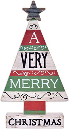 Sunset Vista Designs Wooden Tabletop Decor Downhome Christmas, 16-Inch, Very Merry Tree