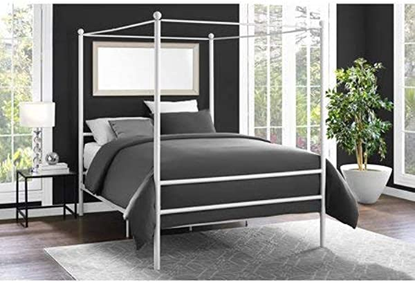 Mainstays Easy To Assemble Modern Design Sturdy Metal Frame Four Post Canopy Bed White Full