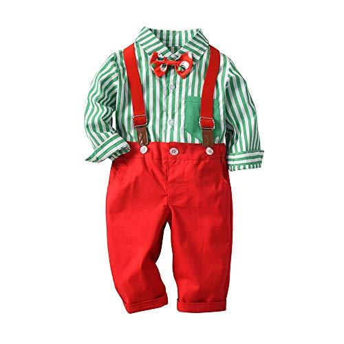 Aiqing Costume de vêtements de Gentleman bébé garçon, Chemise à Carreaux à Manches Longues nœud Papillon + Pantalon à Bretelles vêtements de Noël pour Enfants