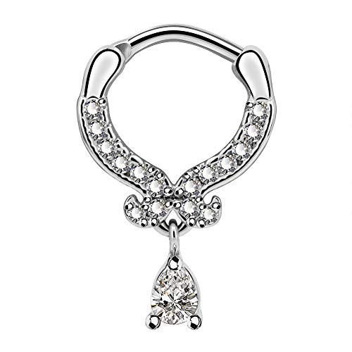 Jewseen Septum Rings Daith Piercing 16G Nose Piercing Ring Septum Jewelry Teardrop Clear CZ Paved Tragus Helix Earring