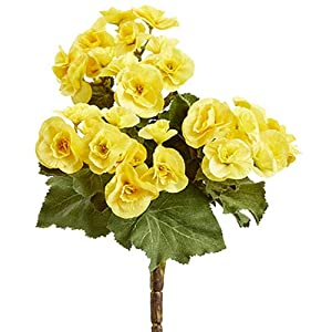 10″ Silk Begonia Flower Bush -Yellow (Pack of 12)