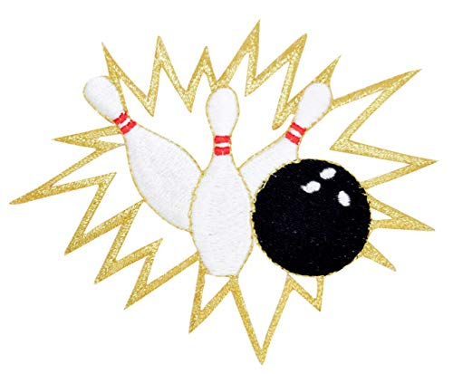 Bowling Ball - Pins Crashing - Iron on Applique/Embroidered Patch