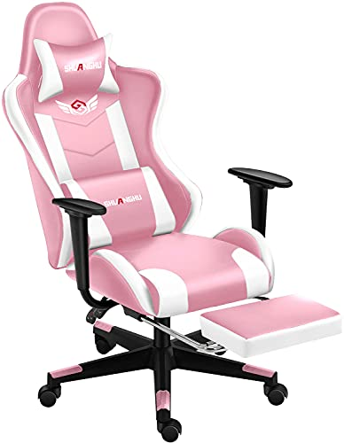 Shuanghu Gaming Chair Office Chair Ergonomic Computer Chair with Reclining Chair with Headrest and Lumbar Support Video Game Chair for Adults Teens Desk Chair(Footrest) (Pink)