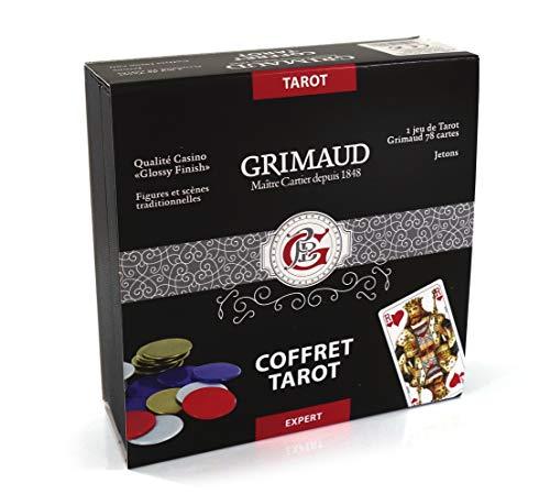 Grimaud Expert-Jeu de 78 Cartes Tarot avec jetons marqués, Coffret façon Cuir Noir, 130007169