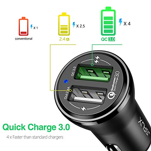 Quick Charge 3.0 Car Charger, JSAUX Dual USB Fast Car Adapter Compatible with Samsung Galaxy S8 Plus Note 9 8 S7 Edge, iPhone Xs Max XR X 8 7 6S 6 Plus, iPad Air 2 Mini, LG G5 G6 V20, Mote Z Z2