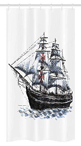 36X72 Inch, Stall Douche Gordijn, Ouderdom Columbus Schip Zeilen In De Imaginaire Atlantische Oceaan Voyage Reis Print,Stof Badkamer Set Met 12 Haken