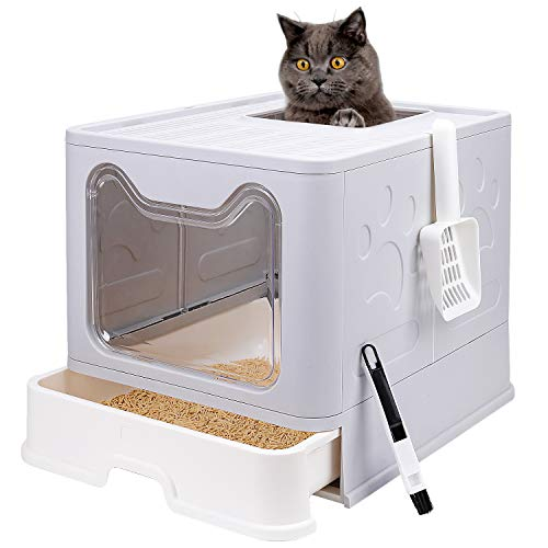 Foldable Cat Litter Box with Lid, Enclosed Cat Potty, Top Entry Anti-Splashing Cat Toilet, Easy to Clean Including Cat Litter Scoop and 2-1 Cleaning Brush(Grey)