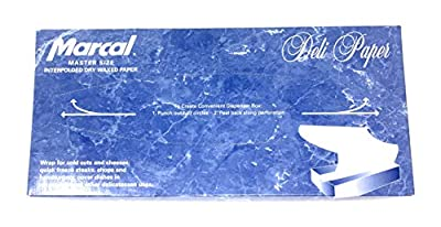 Marcal Deli Wrap Interfolded Wax Paper. Dry Waxed Food Liner Master Size 12 Inch by 10.75 Inch. 2500 Total Sheets (5 x 500 Packs)