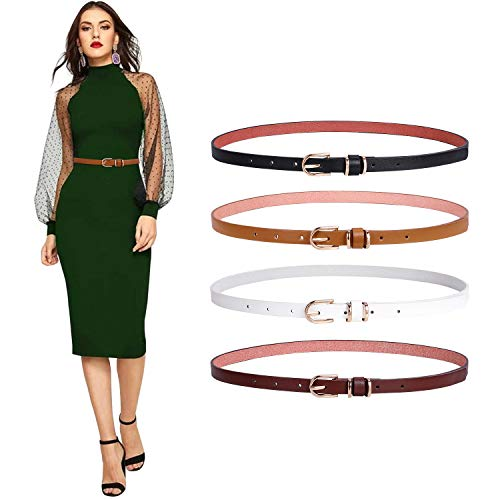 Womens Skinny Belt Set of 4 Thin Belts SANSTHS with Gold Alloy Buckle (Black Brown Coffee White, S)