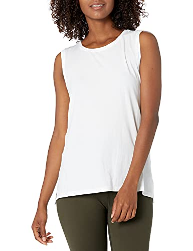 Core 10 Soft Cotton Blend Full Coverage Yoga Sleeveless Tank Top-and-Cami-Shirts, Blanco, S (4-6)