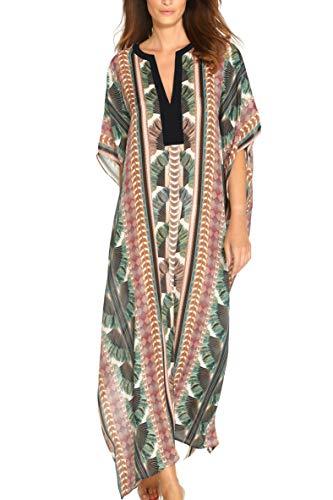 AiJump Femmes Kaftan Kimono Longue Grande Taille Eté Robe de Plage Maxi Pareo Cover Up