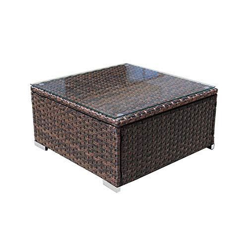 DIMAR garden Outdoor Coffee Table Wicker Patio Furniture Conversation Set Lawn Garden Tea Table Rattan Patio Coffee Tables with Glass Top (25.2in, Mix Brown)