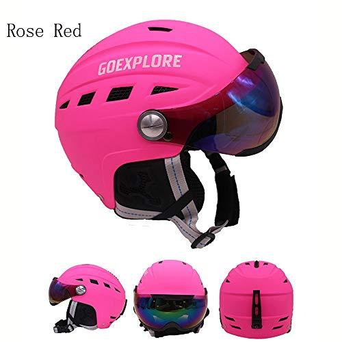 Skihelm met vizier, Snowboard helm, helm voor volwassenen Unisex Anti-mist Anti-uv Geïntegreerde Goggle voor skiën en bergbeklimmen