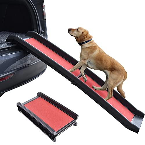 Hunderampe Auto Klappbar, Hunde Autorampe Klappbar für Große Hunde, Einstiegshilfe Hunde Auto, Hundetreppe Kofferraumrampe für SUV PKW LKW, Leicht Stabil rutschfest, bis 90 kg, 156×40×9cm, Rot