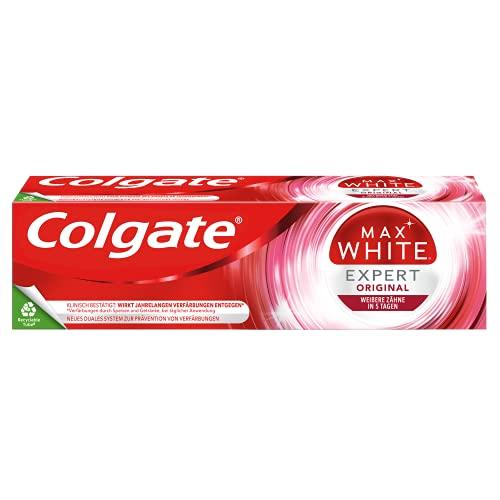 Colgate Max White Expert Original Zahnpasta, 75ml - Zahncreme für weiße Zähne