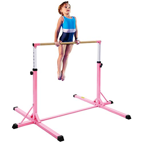 MaxKare Gymnastics Bar Horizontal Bar Junior Training Equipment High Bars Upgraded with 13-Level Adjustable Height, Double Lock & Triangle Supports Kip Bar for Kids Indoor Outdoor Use (Pink)