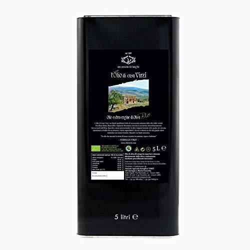 L\'OLIO DI CASA VIRZI\' Italienisches Bio Natives Olivenöl Extra, 5 l Dose Extra Virgine, Made in Italy, Besonders Geeignet für Gegrilltes Fleisch und Gemüse