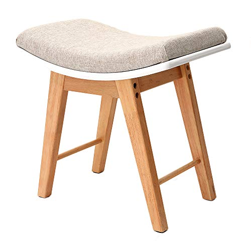 IWELL Vanity Stool with Rubberwood Legs, Makeup Bench Dressing Stool, Padded Cushioned Chair, Piano Seat, for Women, Girl, Capacity 330lb (Natural)