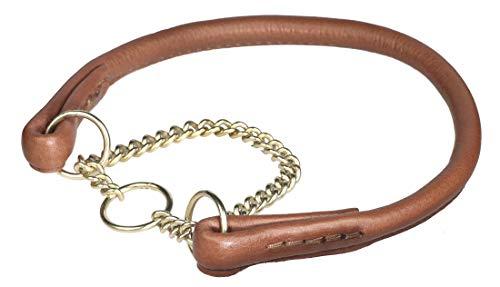 PET FIRST Collier de Chien en Cuir Rond, Collier pour Chien Haute Qualité en Cuir Marron Réglable, Collier Demi-Ouvert Marrón (Width 10 mm / Circ. 40-55 cm / 15.7-21.6 inch)