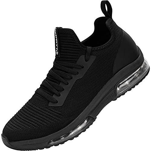 MHXDU Zapatillas Deportivas de Mujer Air Cordones Zapatos de Ligero Running Fitness Zapatillas de para Correr Antideslizantes Amortiguación Sneakers(36 Negro