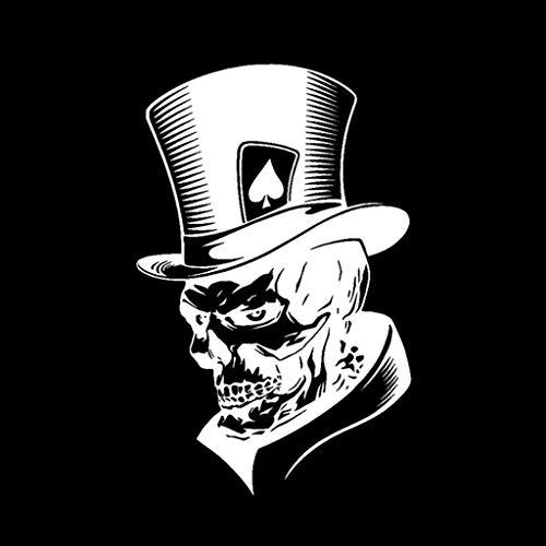 11,3 x 17,6 cm Lovely Joker Skelett Totenkopf Spielkarten Poker Monster Hut Auto Aufkleber weiß