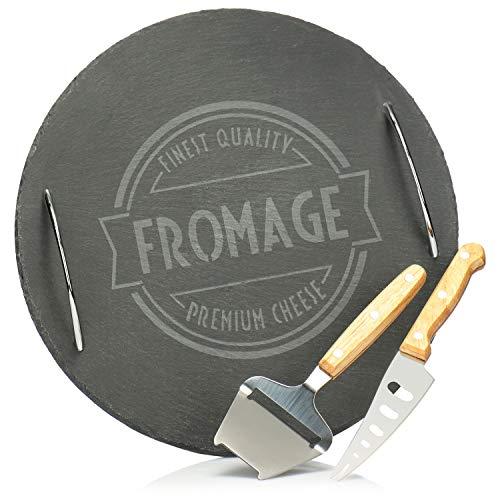 com-four® Plato para Servir de 3 Piezas, Tabla de quesos de Pizarra con Cuchillo de Queso y rebanador de Queso, para Servir especialidades de Queso