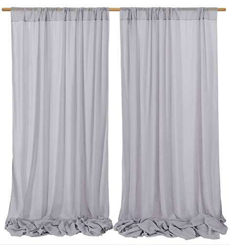 Gray Sheer Wedding Backdrop Chiffon Arch Drapes Fabric for Indoor Outdoor Wedding Sheer Curtains Birthday Party Decoration 9.8ftx10ft