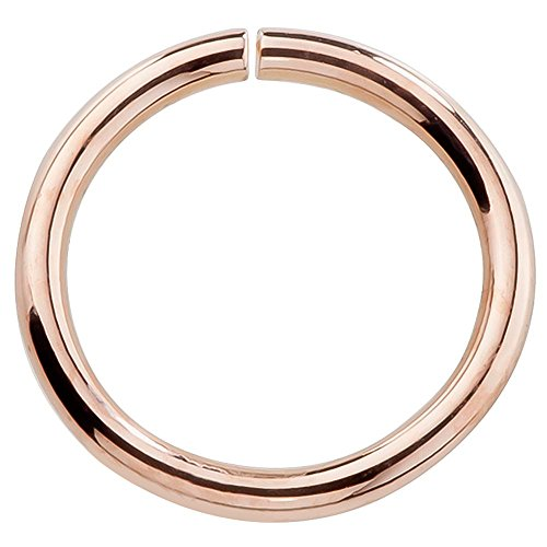"""14k Rose Gold Hoop Earring Cartilage or Nose Piercings Choose From 4 Sizes - Petite Earrings 22 or 20 Gauge For Sensitive Ears Nickel Free (20G 1/4"""""""")"""