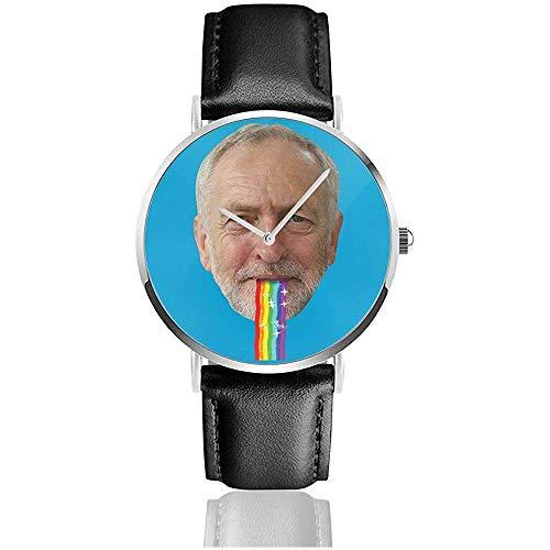 Unisex Jeremy Corbyn Puking Regenbogen Snapchat Filter Uhren Quarz Lederuhr mit schwarzem Lederband