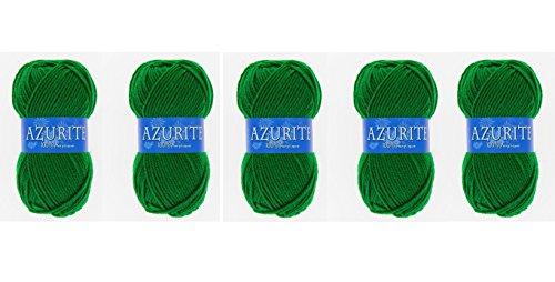 les colis noirs lcn Lot 5 Pelote de Laine Azurite 100% Acrylique Tricot Crochet Tricoter - Vert Sapin - 0338