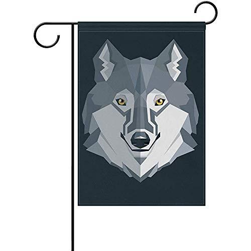 Hao-shop Schwarzer Wolf Nette Gartenfahne Bannerdekoration für Innenhof Hof im Freien Dekor