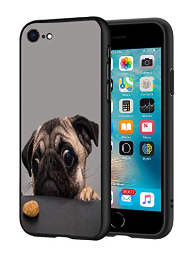 iPhone 7 Case, iPhone 8 Case, Slim Impact Resistant Shock-Absorption Silicone Protective Case Cover for iPhone 7/iPhone 8 (4.7 inch) - Cute Pug