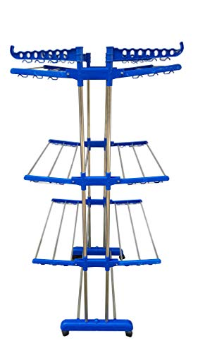 Aniren Royel Blue Cloth Drying Stand with Heavy Duty Dubble Pipes Support 202 Stainless Steel Pipes - Aniren Model No. -Anrn91