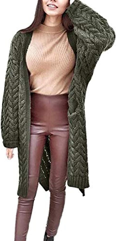 Women's Long Sleeve Oversized Loose Cardigan Sweater Twist Outwear Coat Keep Warm Casual Solid color Sweater Tops