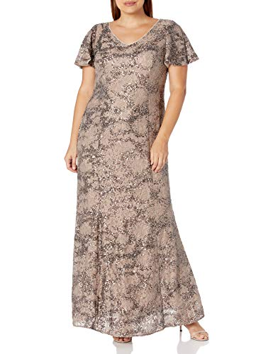 Alex Evenings Women's Plus Size Mother of The Bride, Taupe, 14W