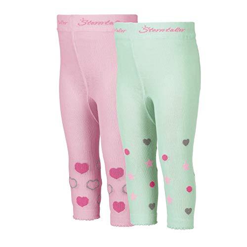 Sterntaler Doppelpack Leggings für Kleinkinder, Herzen-Motiv, Alter: 2-3 Jahre, Größe: 92, Rosa