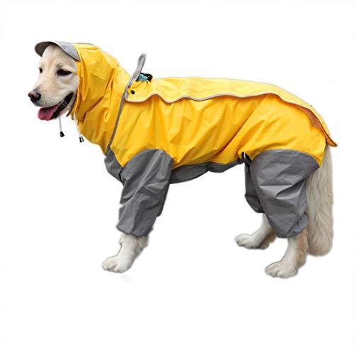 feiling Patchwork Lluvia Abrigo para Perro Chubasquero Impermeable 4 Patas de Lluvia Chaqueta Mascotas Rain Coat Dog con Desmontable Capucha para Grandes Mediano y Pequeños Perros (30#, Amaril