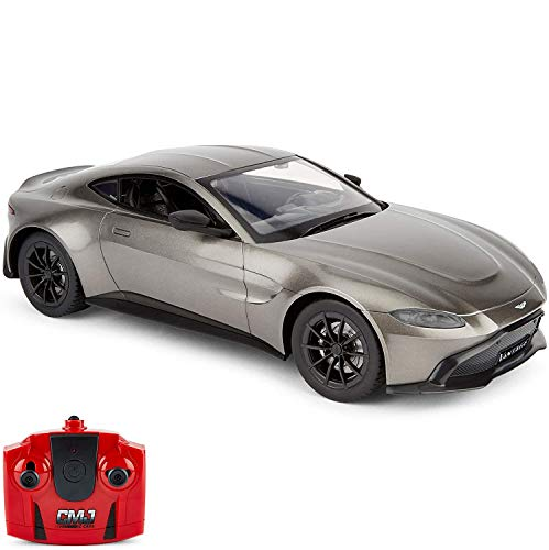 CMJ RC Cars ™ Aston Martin Coche de control remoto Aston Martin 1:14 gris con licencia oficial