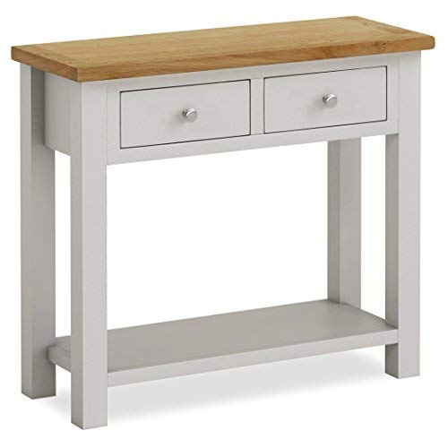 Roseland Furniture Farrow Painted Console Table/Hall Table/Painted Stone Grey with Oak Top & Drawers