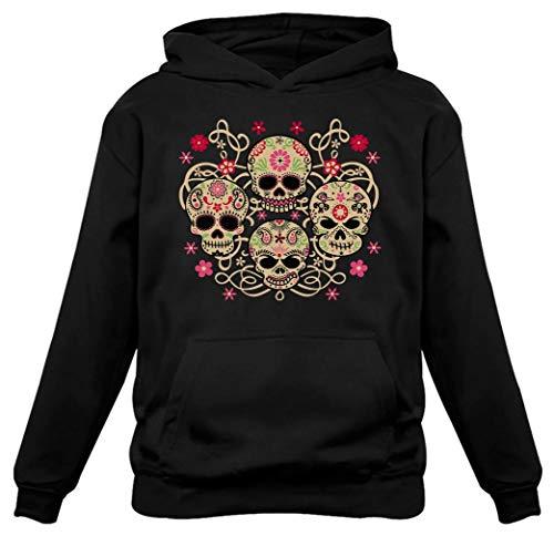 Rose Eye Sugar Skulls Sweatshirt Day of The Dead Gothic Women's Hoodie XX-Large Black