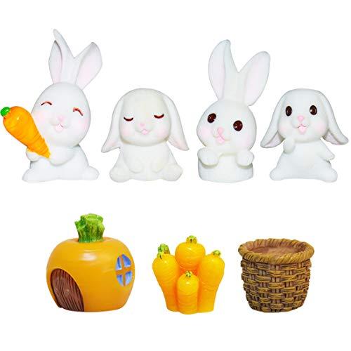 Kaninchen Figur Mini YUESEN 7pcs Mini Hase Skulptur Tierfiguren für Osterpartys Kuchen Tortendeko Geburtstags Party liefert Cupcake Figuren für Kindergeburtstag deko Mädchen /Junge