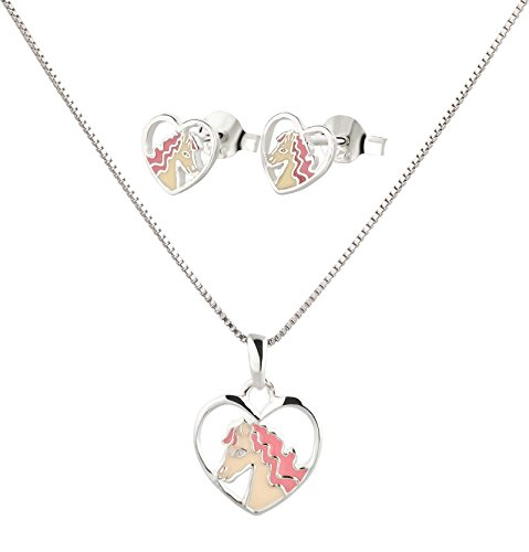 FIVE-D Anhänger mit Kette Kinderohrringe Herz Pony Pferd 925 Silber im Schmucketui