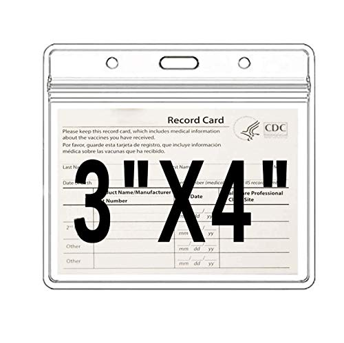 4 X 3 in Health Card ID Card Protective Case Waterproof PVC Soft Card Case-Card Protector health ID Card Name Tag Badge Cards Holder Clear Vinyl Plastic Sleeve with Waterproof Type Resealable Zip (10)